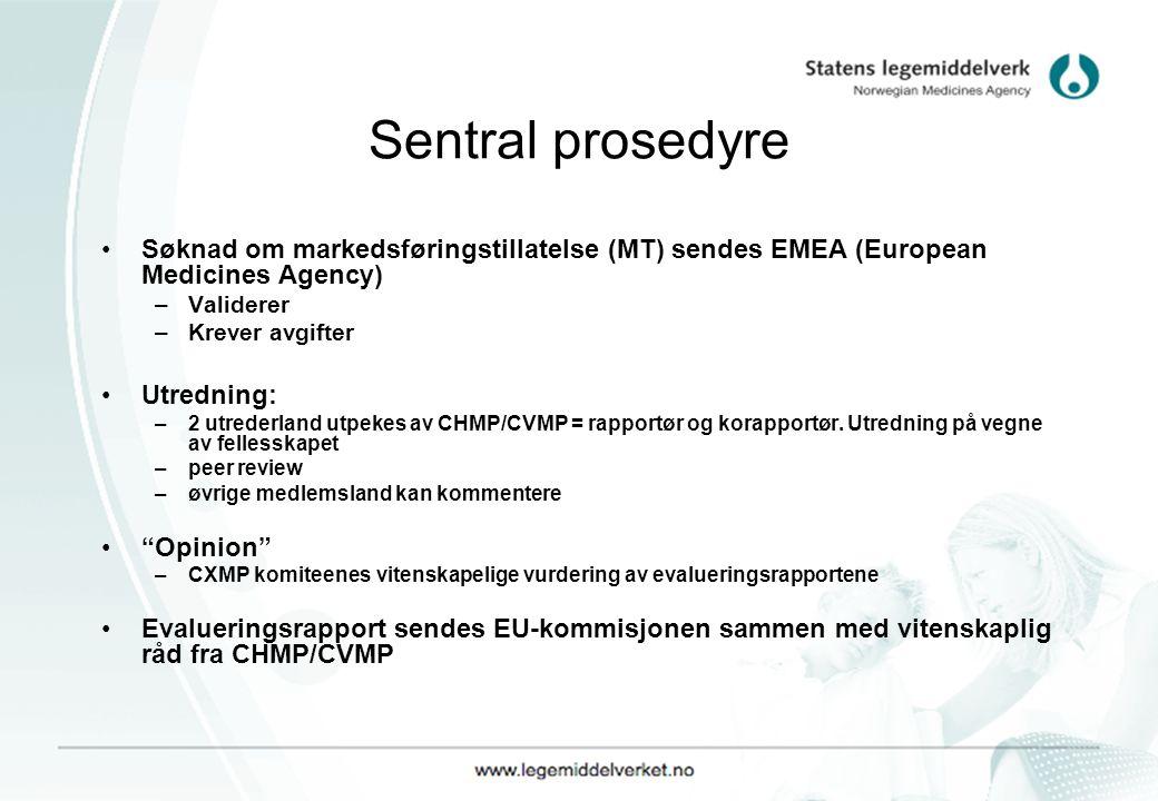 Sentral prosedyre Søknad om markedsføringstillatelse (MT) sendes EMEA (European Medicines Agency) Validerer.