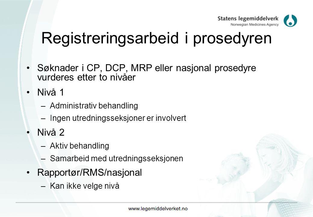 Registreringsarbeid i prosedyren