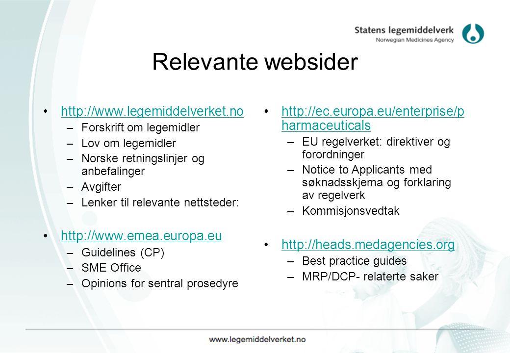 Relevante websider http://www.legemiddelverket.no
