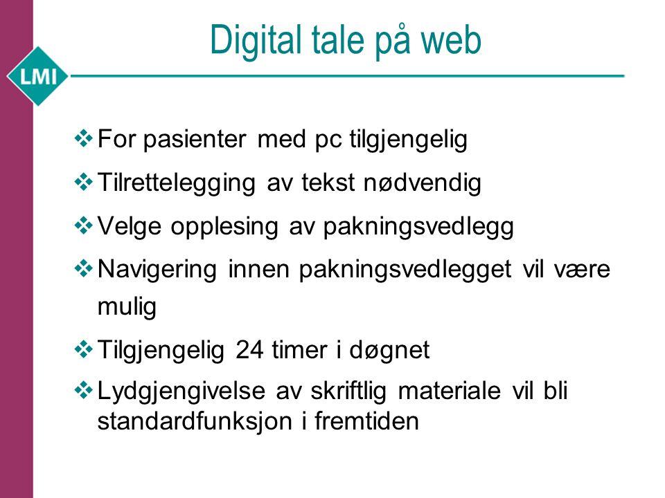 Digital tale på web For pasienter med pc tilgjengelig