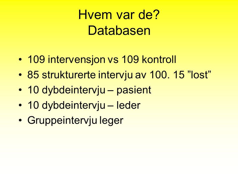 Hvem var de Databasen 109 intervensjon vs 109 kontroll