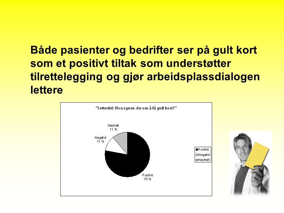 Både pasienter og bedrifter ser på gult kort som et positivt tiltak som understøtter tilrettelegging og gjør arbeidsplassdialogen lettere