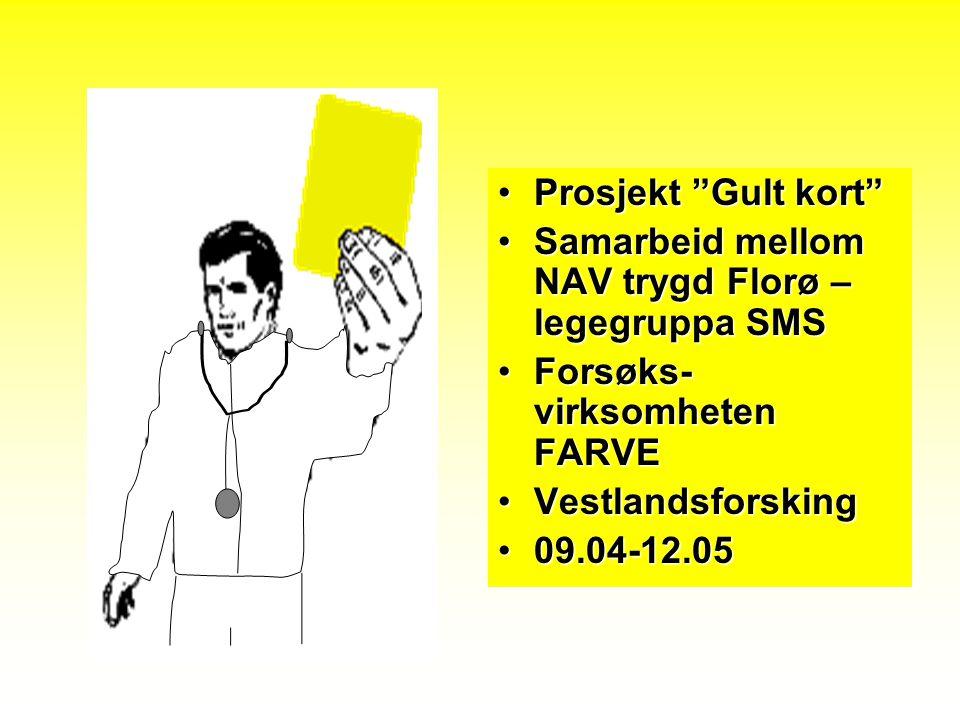 Prosjekt Gult kort Samarbeid mellom NAV trygd Florø – legegruppa SMS. Forsøks-virksomheten FARVE.