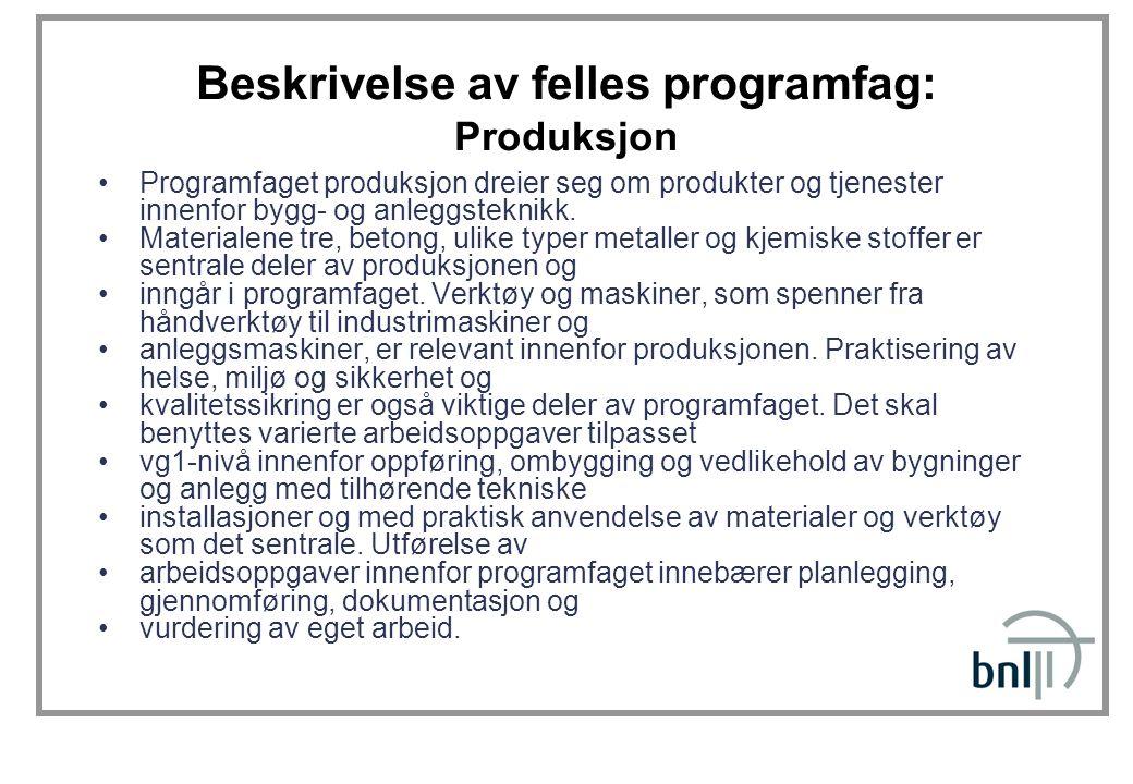 Beskrivelse av felles programfag: Produksjon