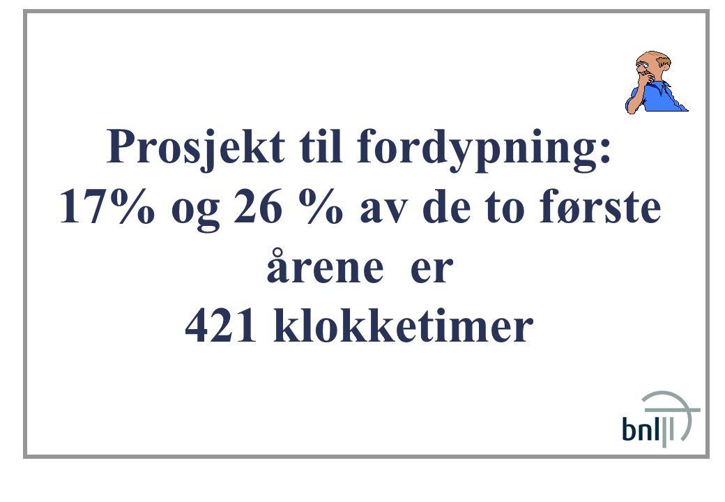 Prosjekt til fordypning: 17% og 26 % av de to første årene er