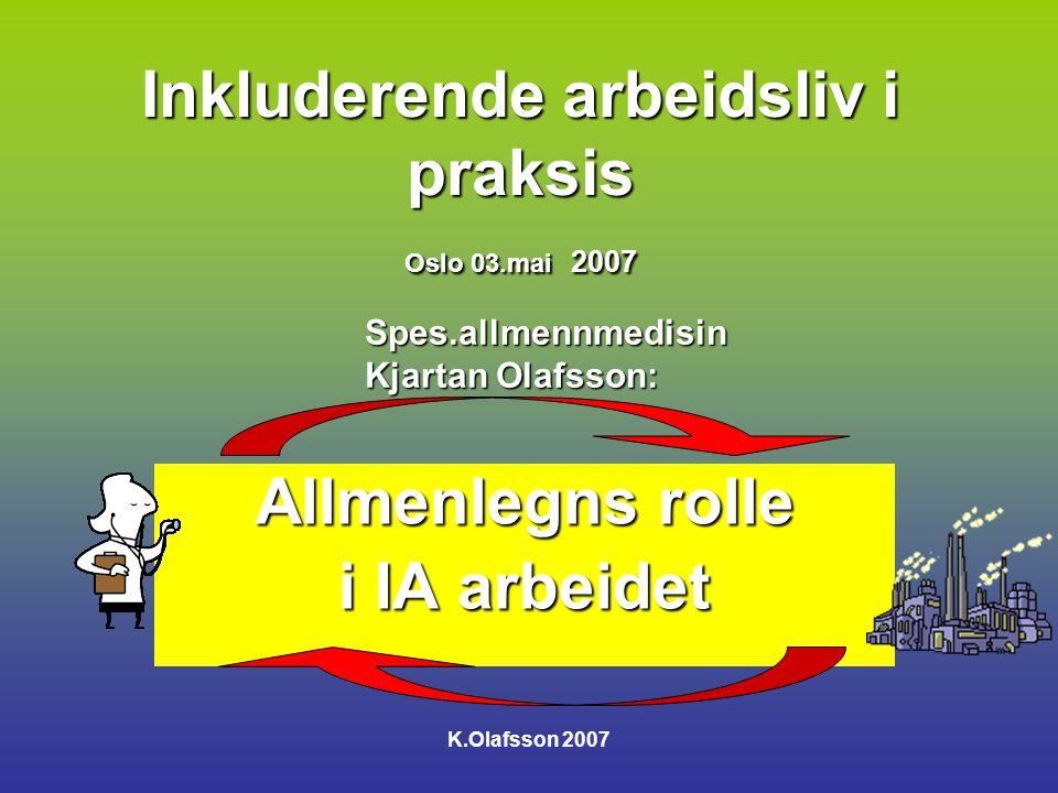 Inkluderende arbeidsliv i praksis Oslo 03.mai 2007