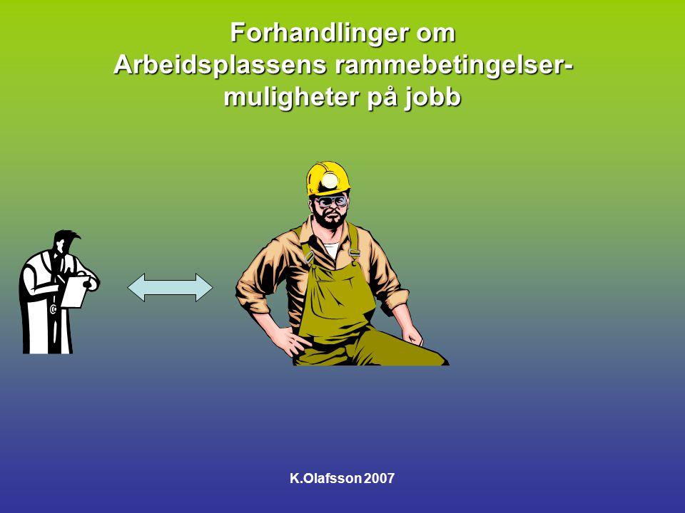 Forhandlinger om Arbeidsplassens rammebetingelser- muligheter på jobb