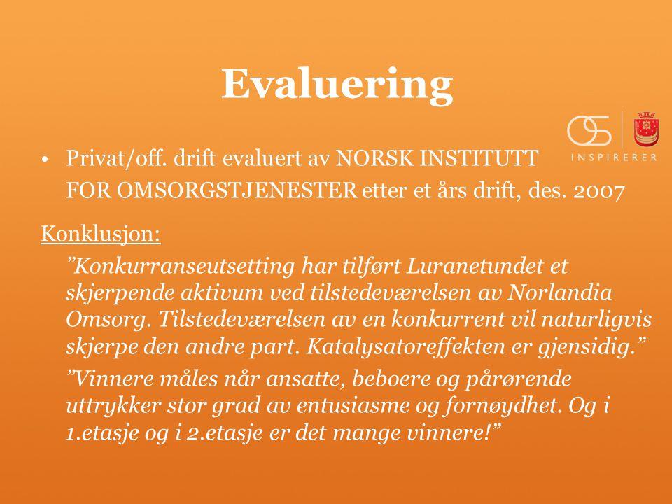 Evaluering Privat/off. drift evaluert av NORSK INSTITUTT