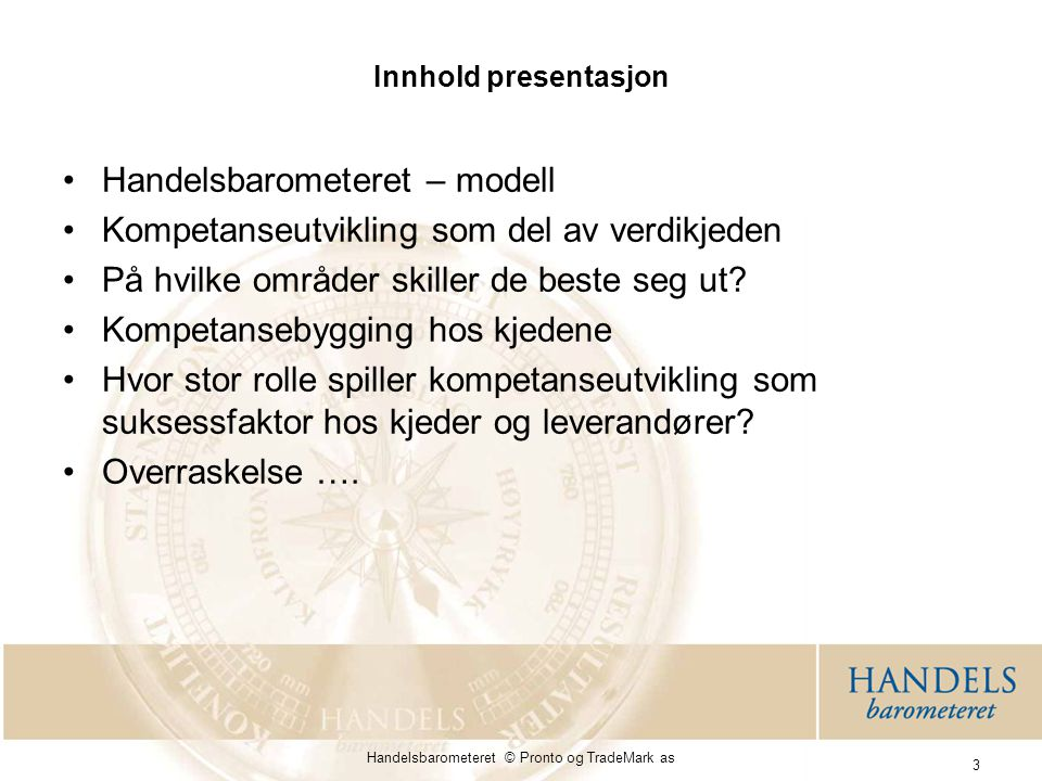 Handelsbarometeret © Pronto og TradeMark as