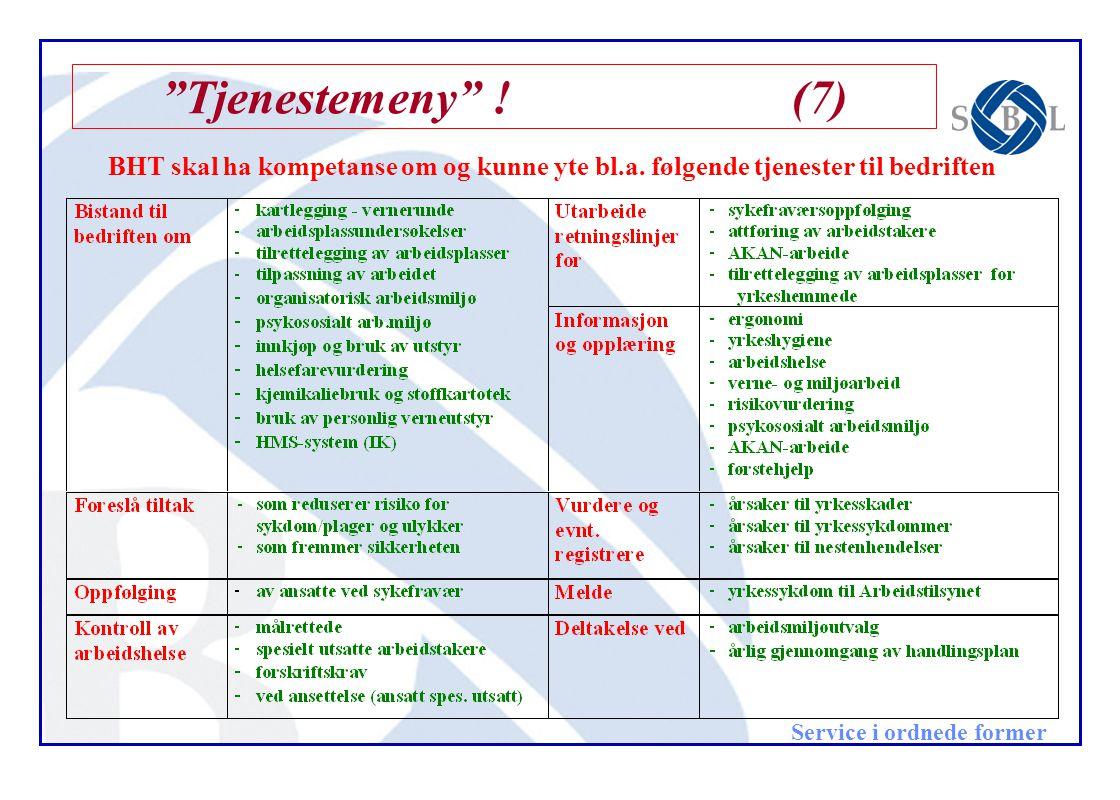 Tjenestemeny ! (7) BHT skal ha kompetanse om og kunne yte bl.a.