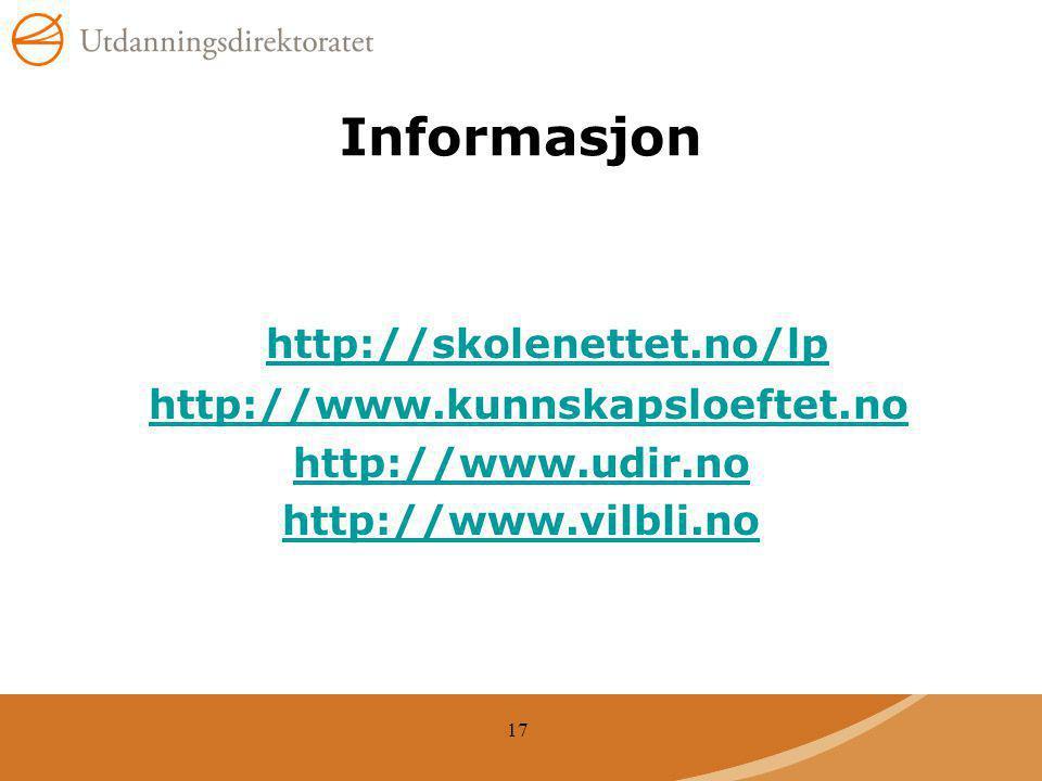 Informasjon http://skolenettet.no/lp