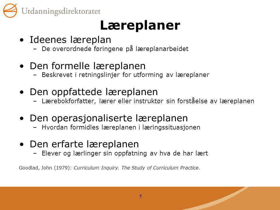 Læreplaner Ideenes læreplan Den formelle læreplanen