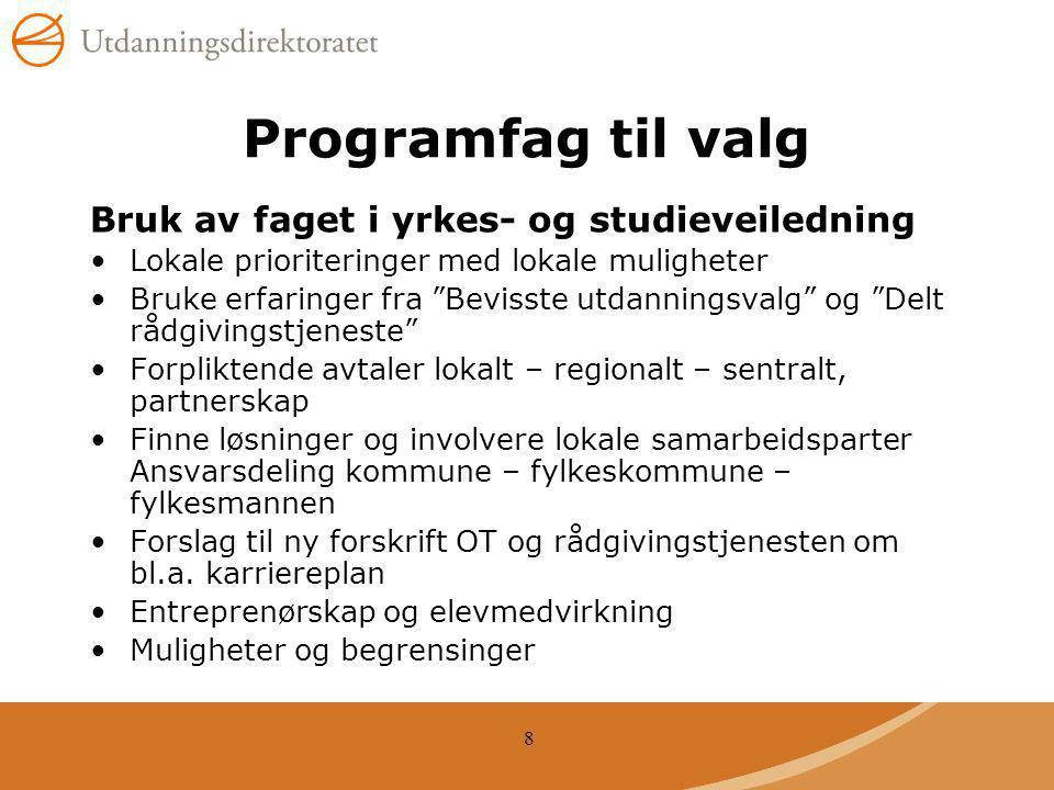 Programfag til valg Bruk av faget i yrkes- og studieveiledning