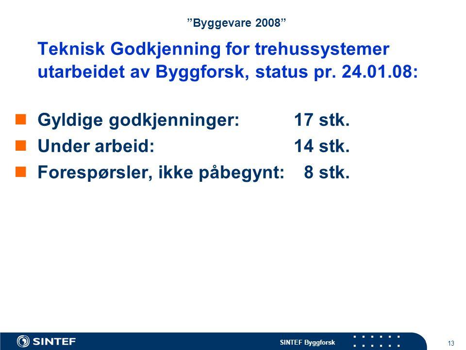 Byggevare 2008 Teknisk Godkjenning for trehussystemer utarbeidet av Byggforsk, status pr. 24.01.08: