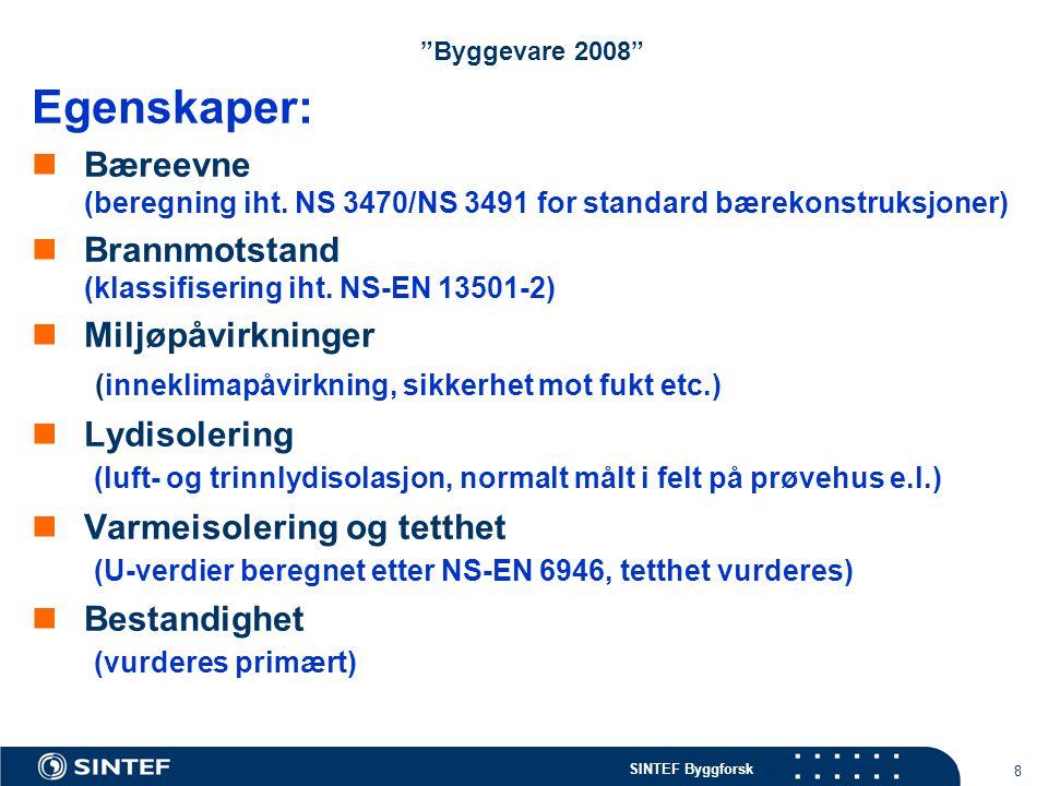 Byggevare 2008 Egenskaper: Bæreevne (beregning iht. NS 3470/NS 3491 for standard bærekonstruksjoner)