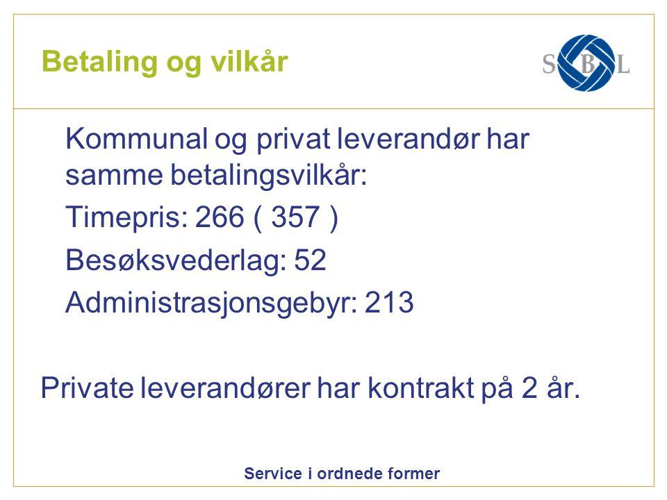 Betaling og vilkår Kommunal og privat leverandør har samme betalingsvilkår: Timepris: 266 ( 357 ) Besøksvederlag: 52.