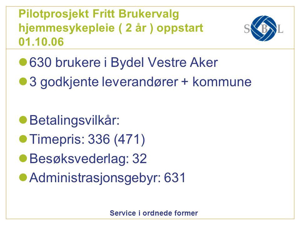 630 brukere i Bydel Vestre Aker 3 godkjente leverandører + kommune