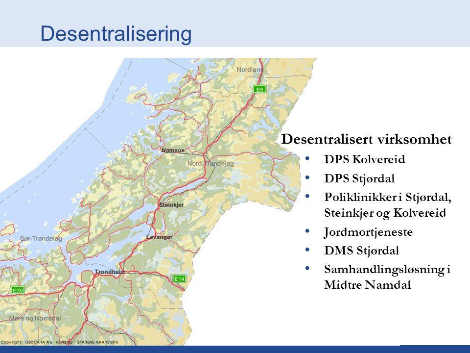 Desentralisering Desentralisert virksomhet DPS Kolvereid DPS Stjørdal