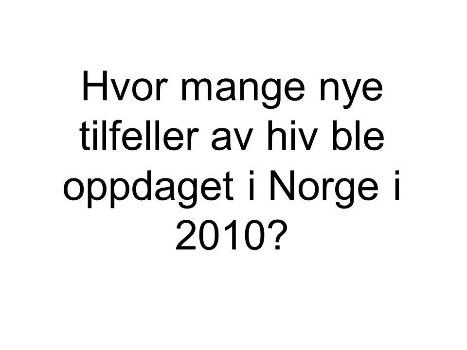 Hvor mange nye tilfeller av hiv ble oppdaget i Norge i 2010