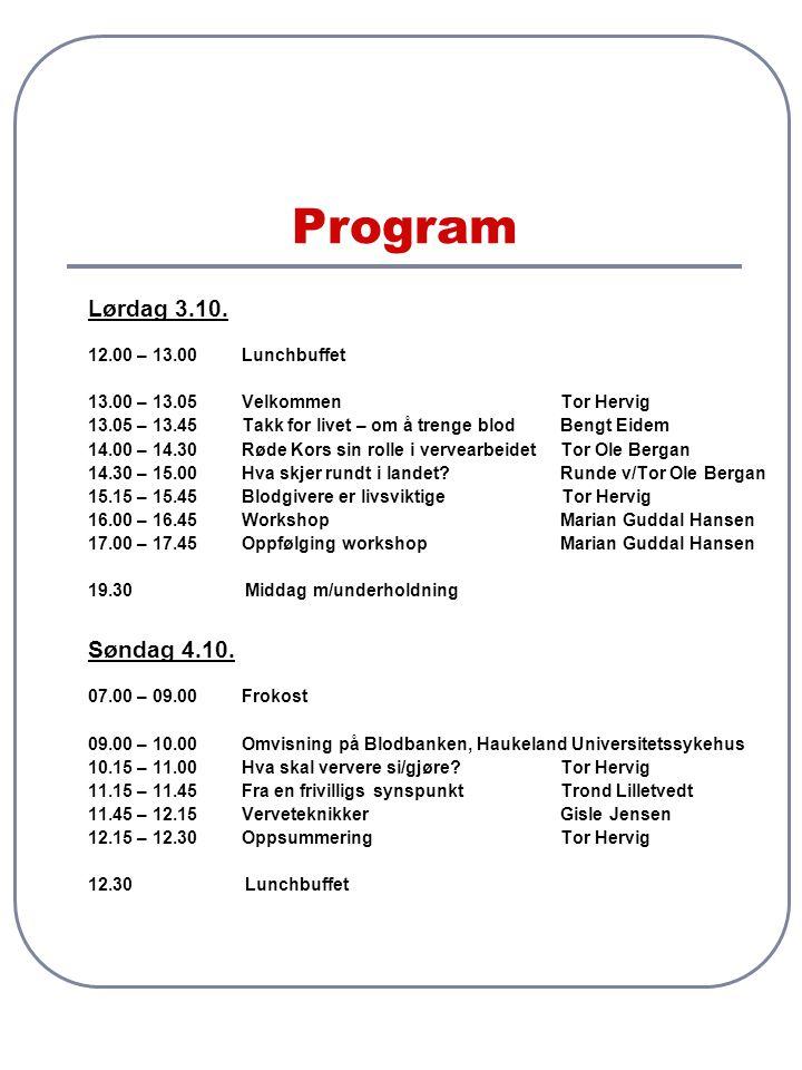 Program Lørdag 3.10. Søndag 4.10. 12.00 – 13.00 Lunchbuffet