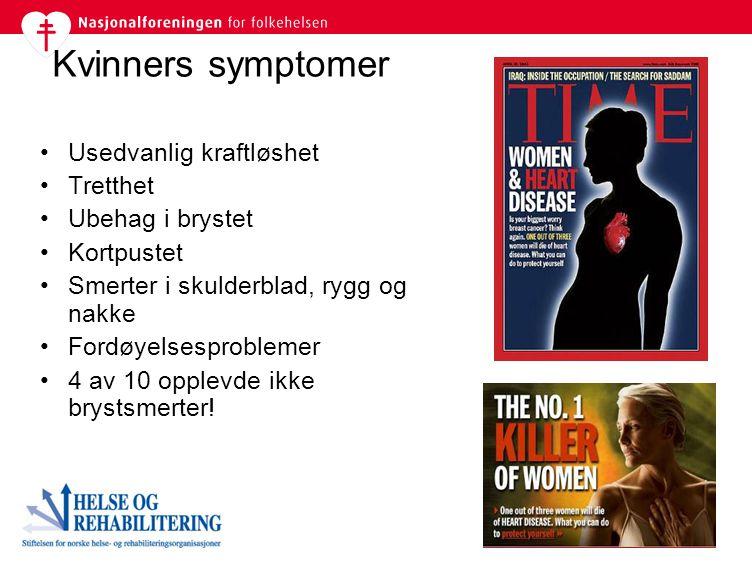 Kvinners symptomer Usedvanlig kraftløshet Tretthet Ubehag i brystet