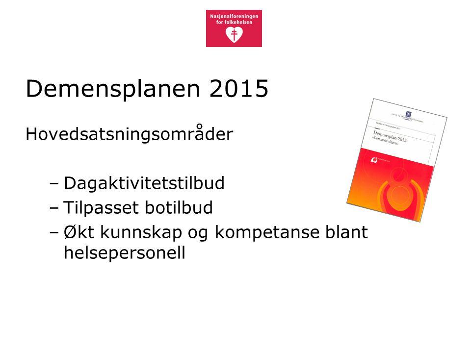 Demensplanen 2015 Hovedsatsningsområder Dagaktivitetstilbud