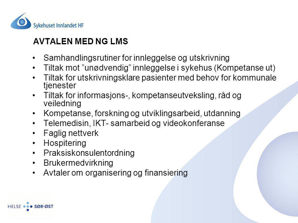 AVTALEN MED NG LMS Samhandlingsrutiner for innleggelse og utskrivning. Tiltak mot unødvendig innleggelse i sykehus (Kompetanse ut)