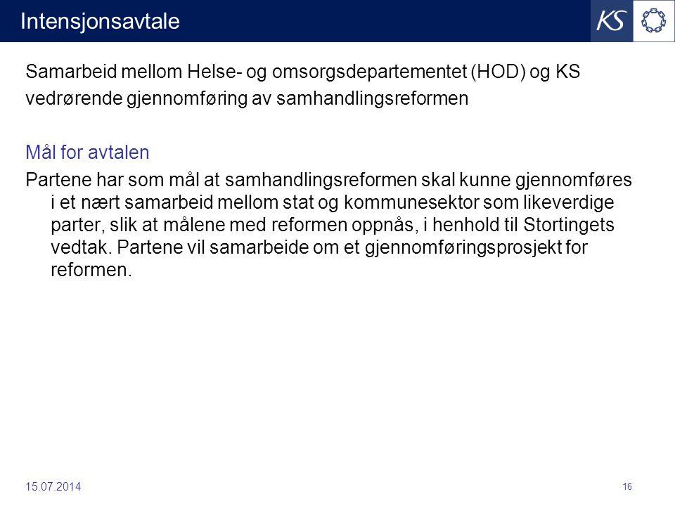 Intensjonsavtale Samarbeid mellom Helse- og omsorgsdepartementet (HOD) og KS. vedrørende gjennomføring av samhandlingsreformen.