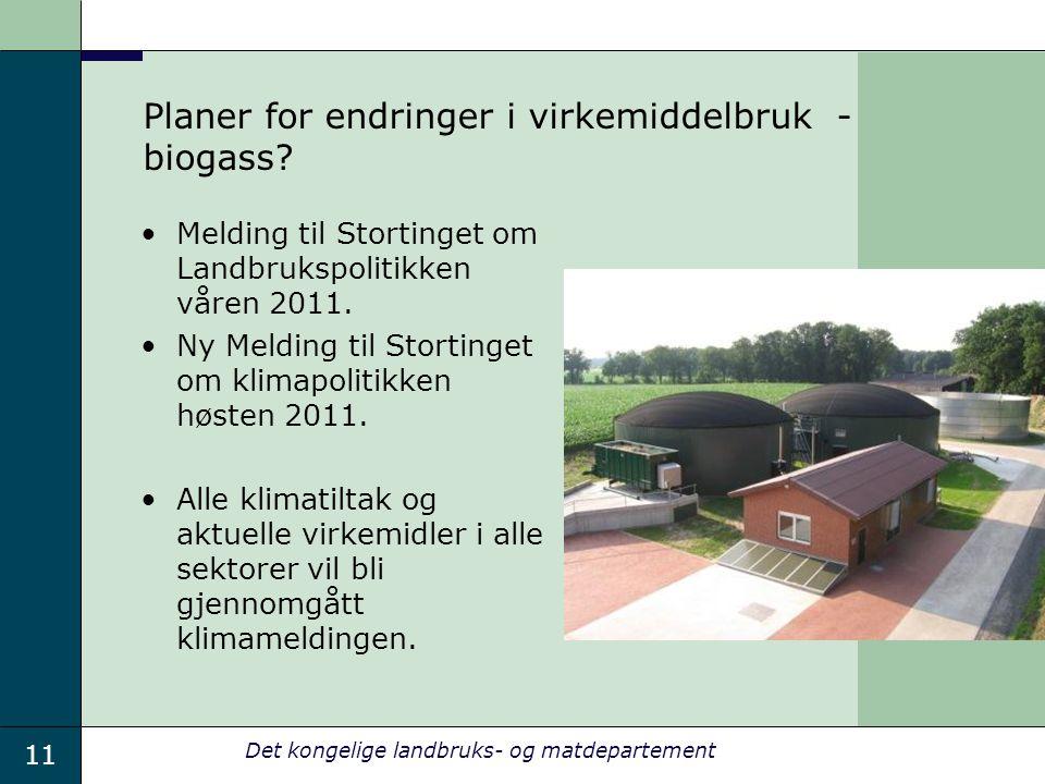 Planer for endringer i virkemiddelbruk - biogass