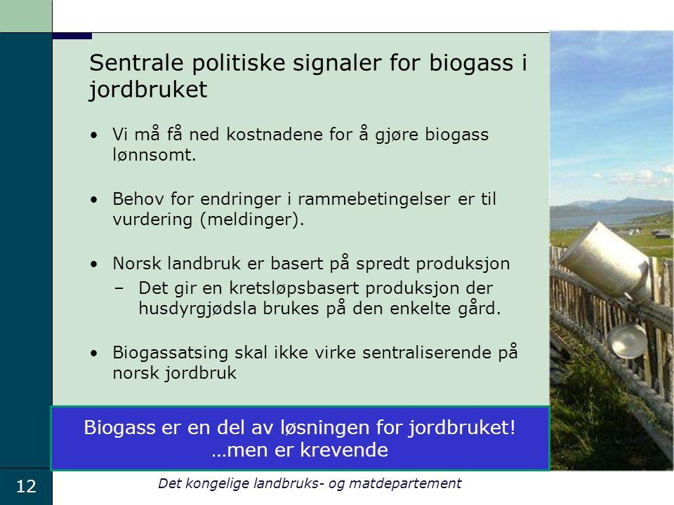 Sentrale politiske signaler for biogass i jordbruket