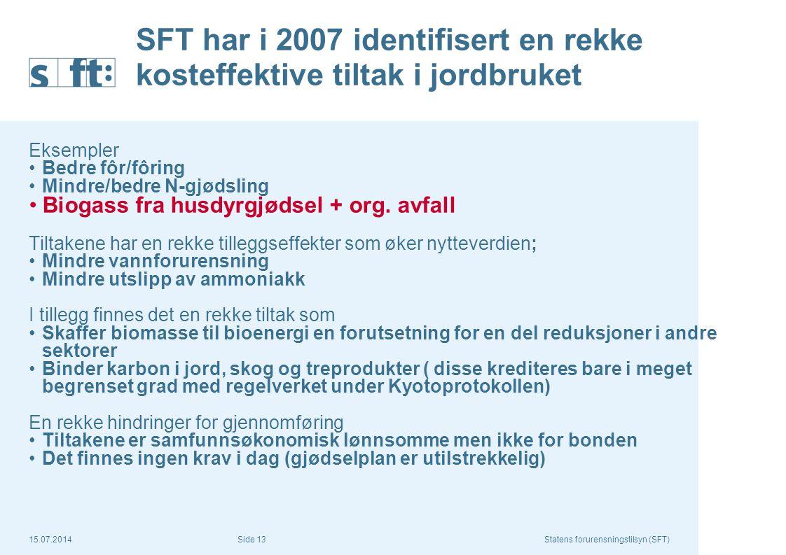 SFT har i 2007 identifisert en rekke kosteffektive tiltak i jordbruket