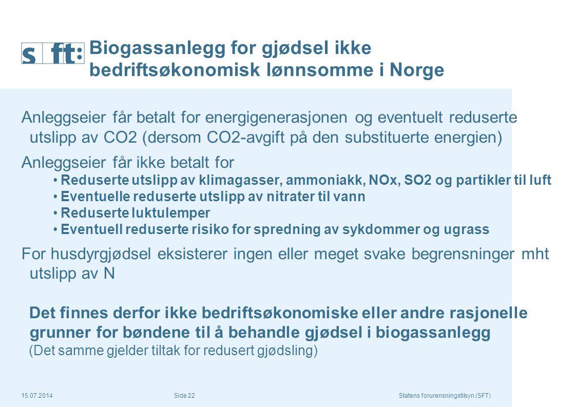 Biogassanlegg for gjødsel ikke bedriftsøkonomisk lønnsomme i Norge