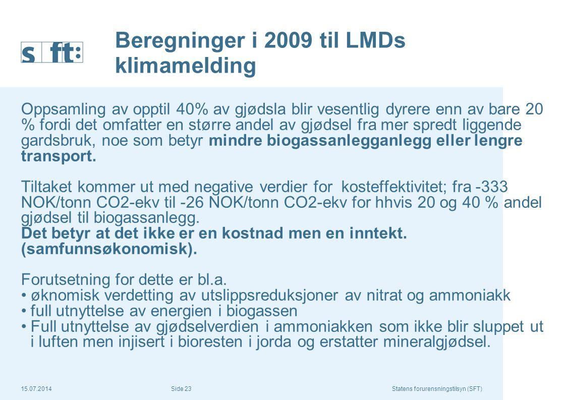 Beregninger i 2009 til LMDs klimamelding