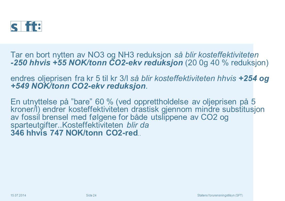 Tar en bort nytten av NO3 og NH3 reduksjon så blir kosteffektiviteten