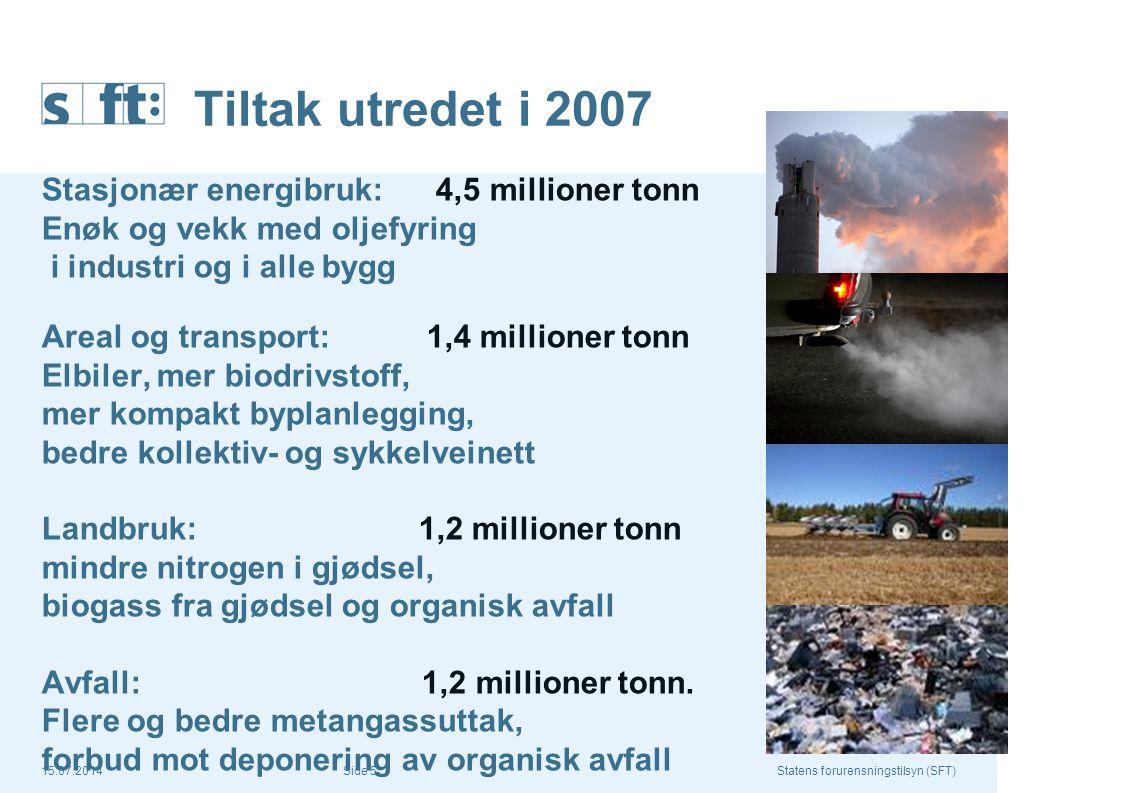 Tiltak utredet i 2007 Stasjonær energibruk: 4,5 millioner tonn