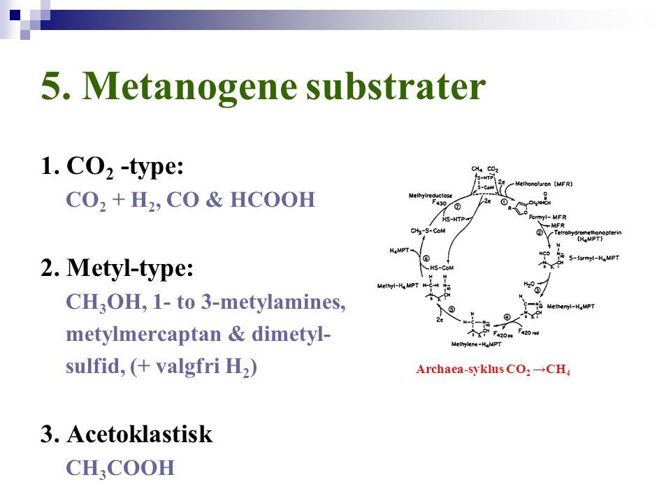 5. Metanogene substrater