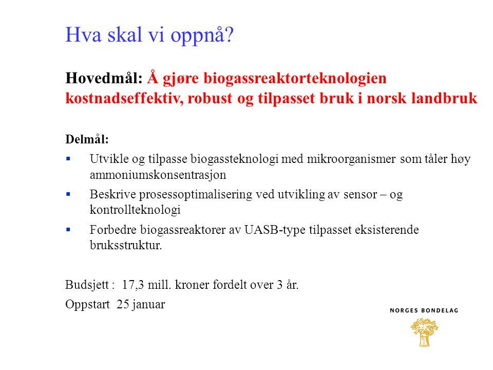 Hva skal vi oppnå Hovedmål: Å gjøre biogassreaktorteknologien kostnadseffektiv, robust og tilpasset bruk i norsk landbruk.