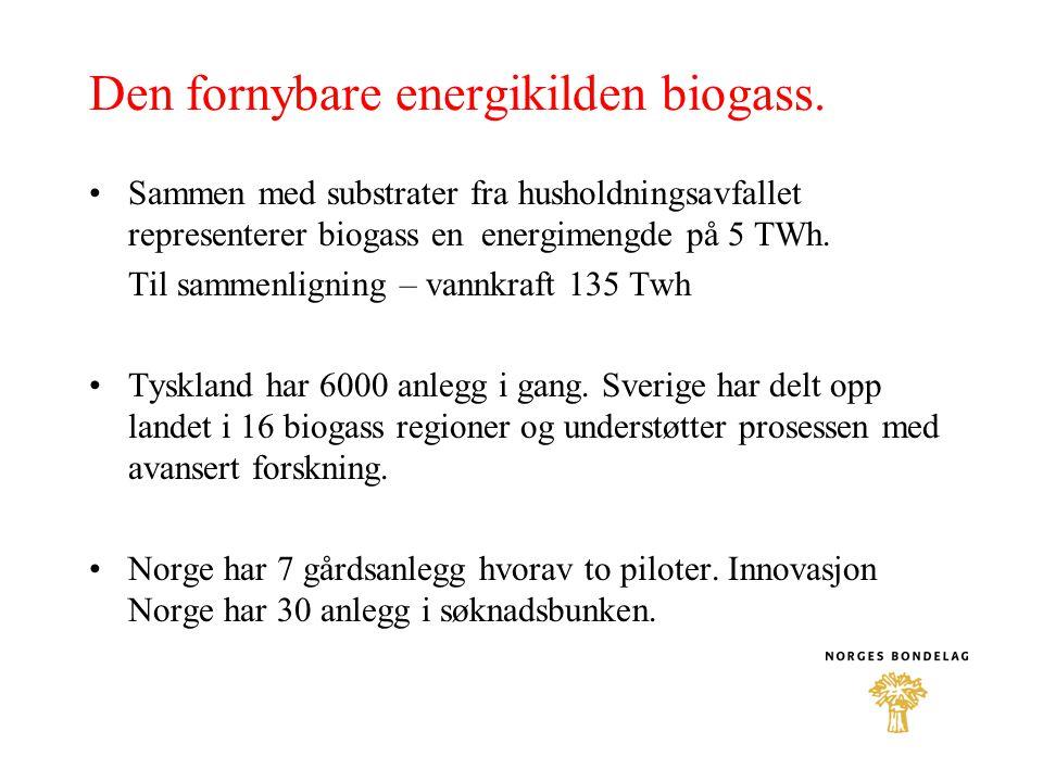 Den fornybare energikilden biogass.