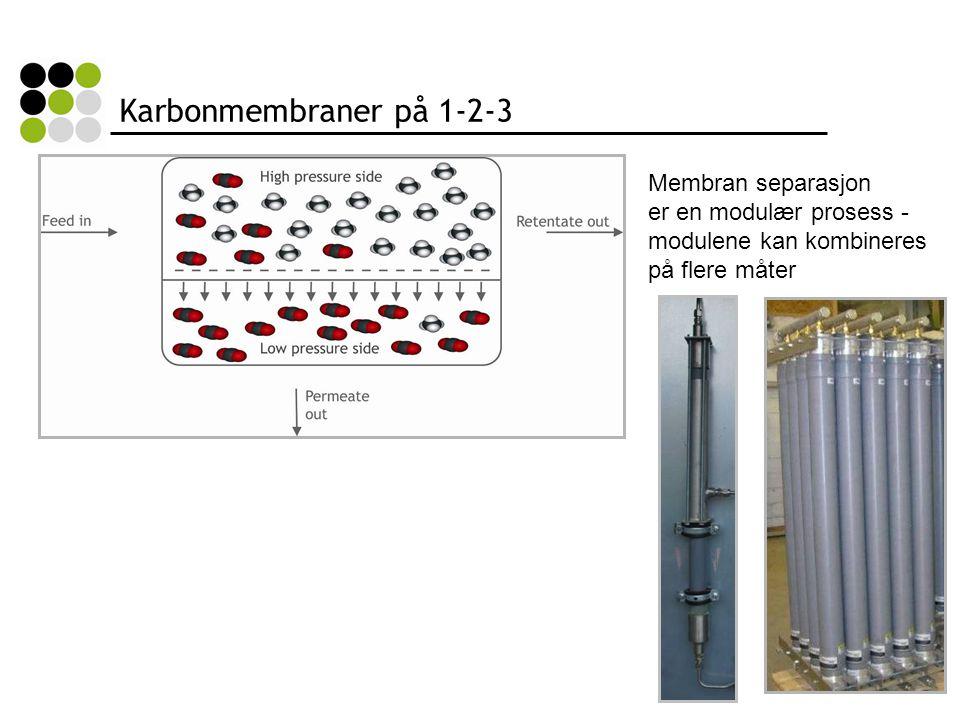 Karbonmembraner på 1-2-3 Membran separasjon