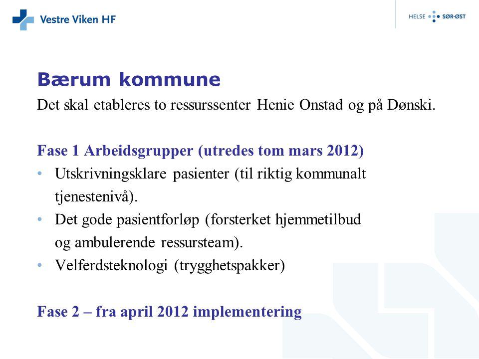 Bærum kommune Det skal etableres to ressurssenter Henie Onstad og på Dønski. Fase 1 Arbeidsgrupper (utredes tom mars 2012)
