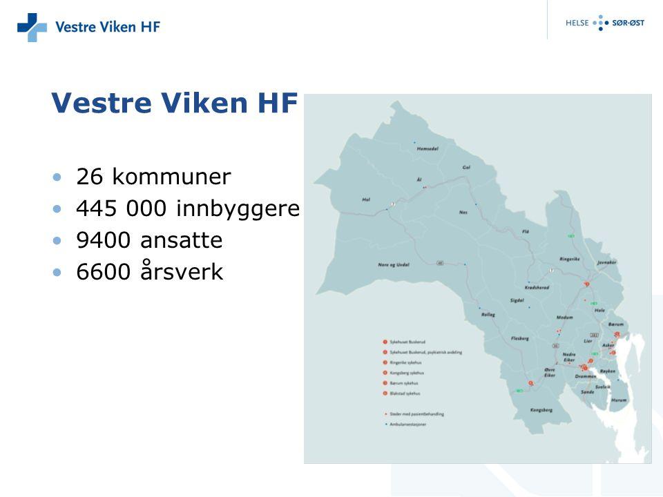 Vestre Viken HF 26 kommuner 445 000 innbyggere 9400 ansatte