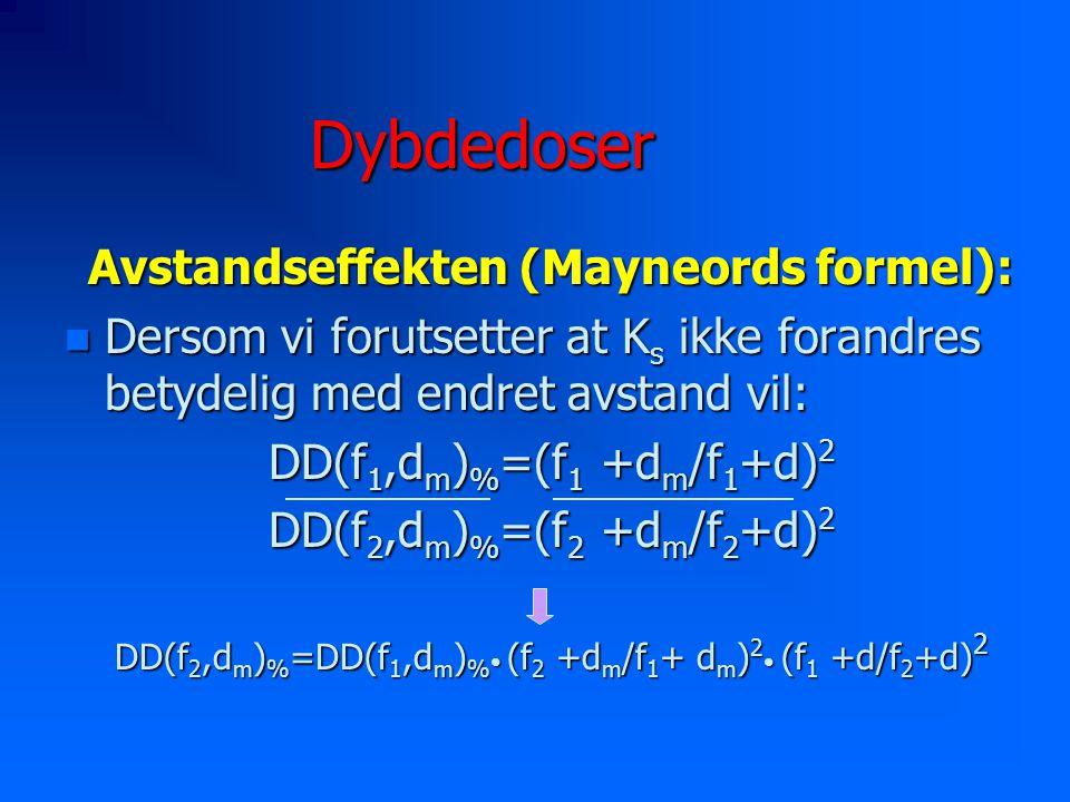 Dybdedoser Avstandseffekten (Mayneords formel):