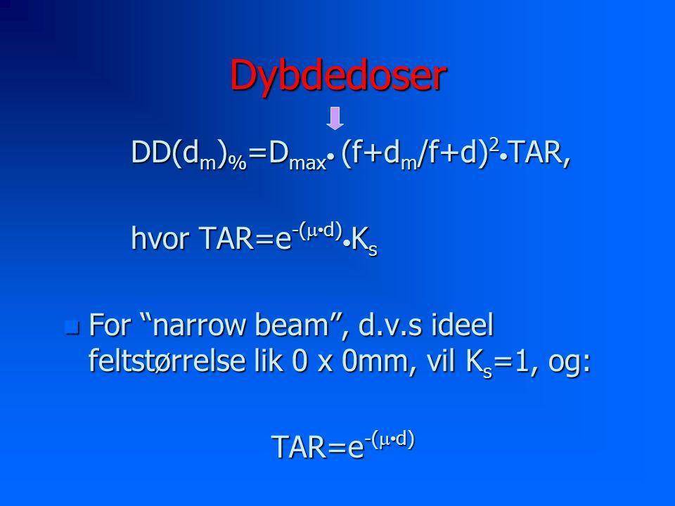 Dybdedoser DD(dm)%=Dmax• (f+dm/f+d)2•TAR, hvor TAR=e-(m•d)•Ks