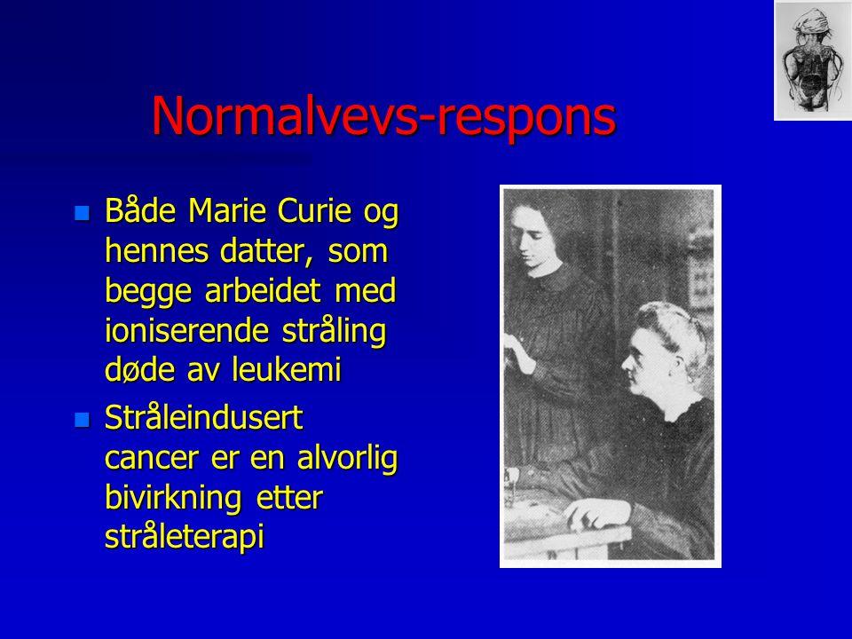 Normalvevs-respons Både Marie Curie og hennes datter, som begge arbeidet med ioniserende stråling døde av leukemi.