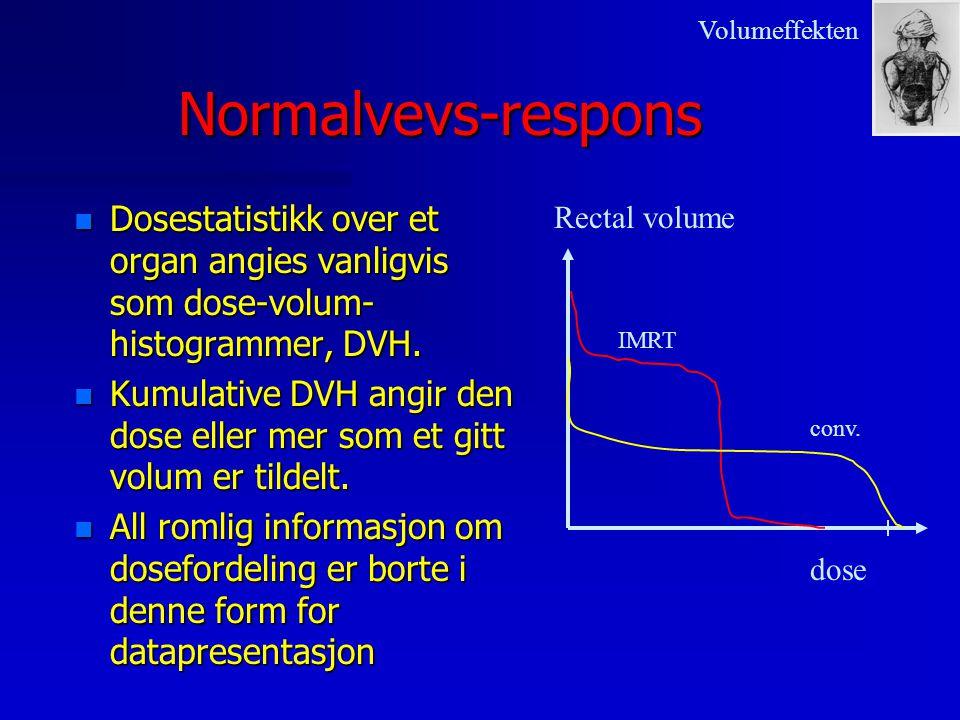 Volumeffekten Normalvevs-respons. Dosestatistikk over et organ angies vanligvis som dose-volum-histogrammer, DVH.