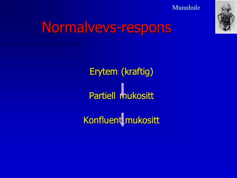 Normalvevs-respons Erytem (kraftig) Partiell mukositt