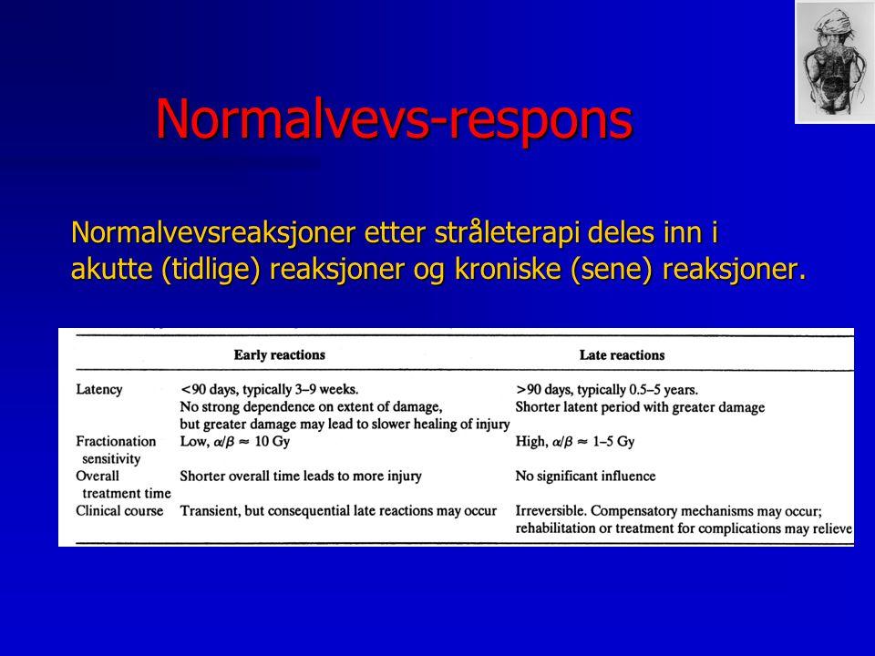 Normalvevs-respons Normalvevsreaksjoner etter stråleterapi deles inn i akutte (tidlige) reaksjoner og kroniske (sene) reaksjoner.