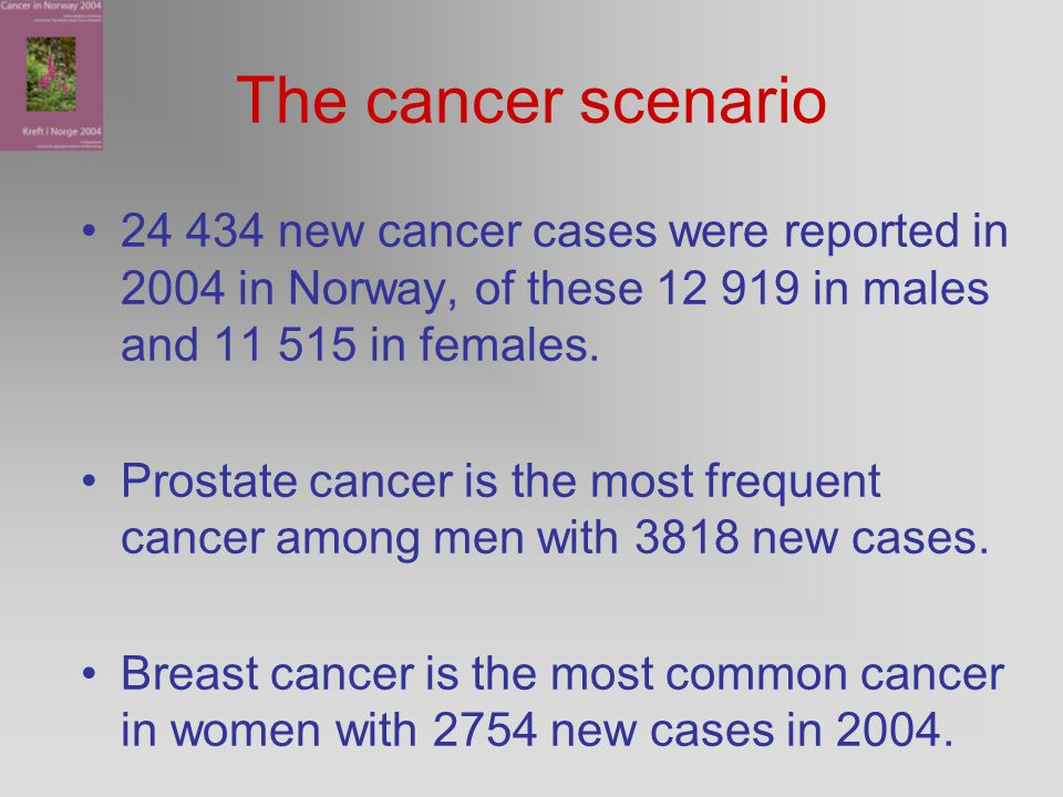 The cancer scenario 24 434 new cancer cases were reported in 2004 in Norway, of these 12 919 in males and 11 515 in females.