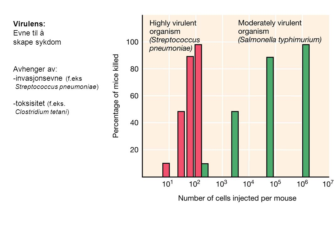 Virulens: Evne til å skape sykdom Avhenger av: -invasjonsevne (f.eks