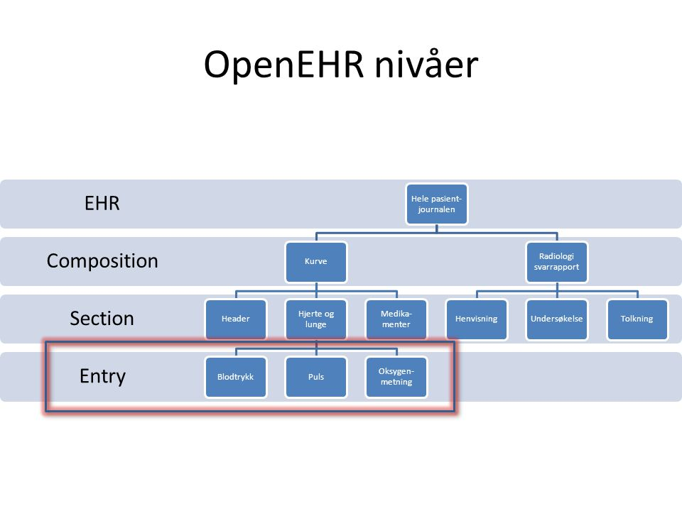 OpenEHR nivåer EHR Composition Section Entry Hele pasient-journalen